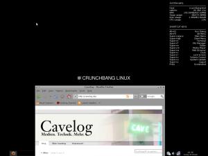 Desktop der LiteVersion von CrunchBang Linux mit Systeminformationen und geöffnetem Browser
